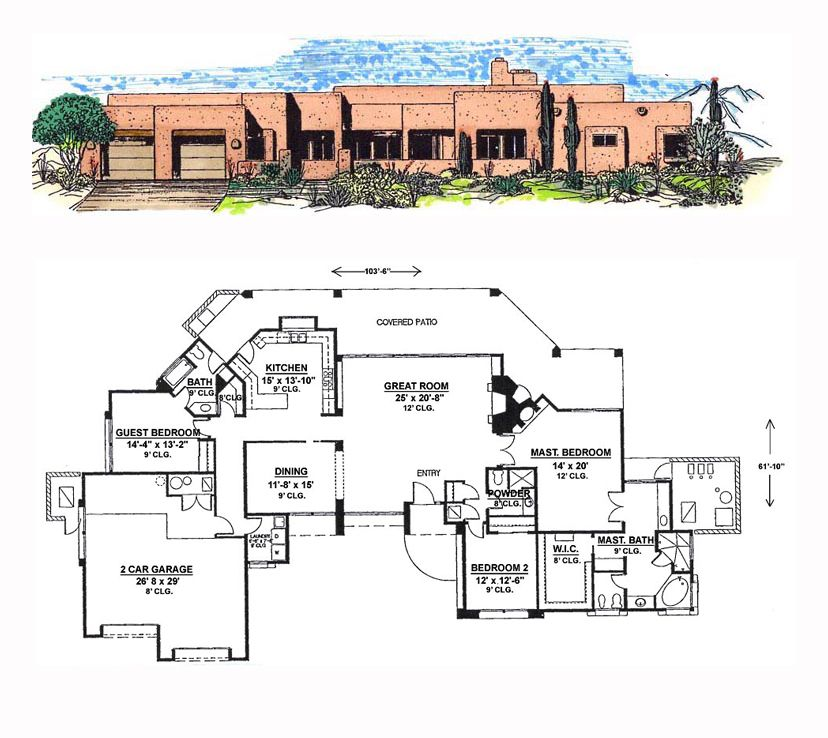 Southwest Style House Plan 54691 With 3 Bed 3 Bath 2 Car Garage House Plans Castle Plans Southwest House