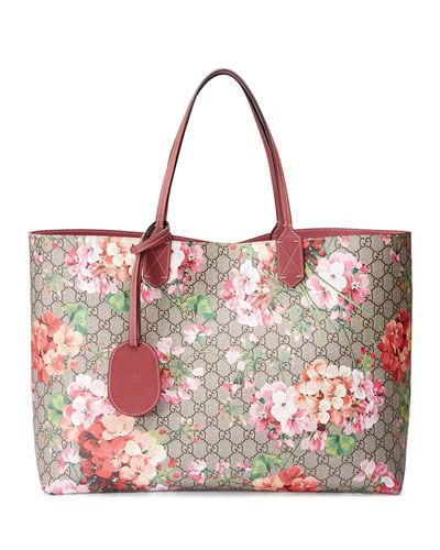 0fc2291ab40d V2RA0 Gucci GG Blooms Large Reversible Leather Tote Bag, Multicolor    Accesorios   Pinterest   Leather totes, Gucci and Tote bag