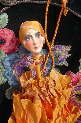 RARE Antique French Boudoir Doll Purse Paris 1920