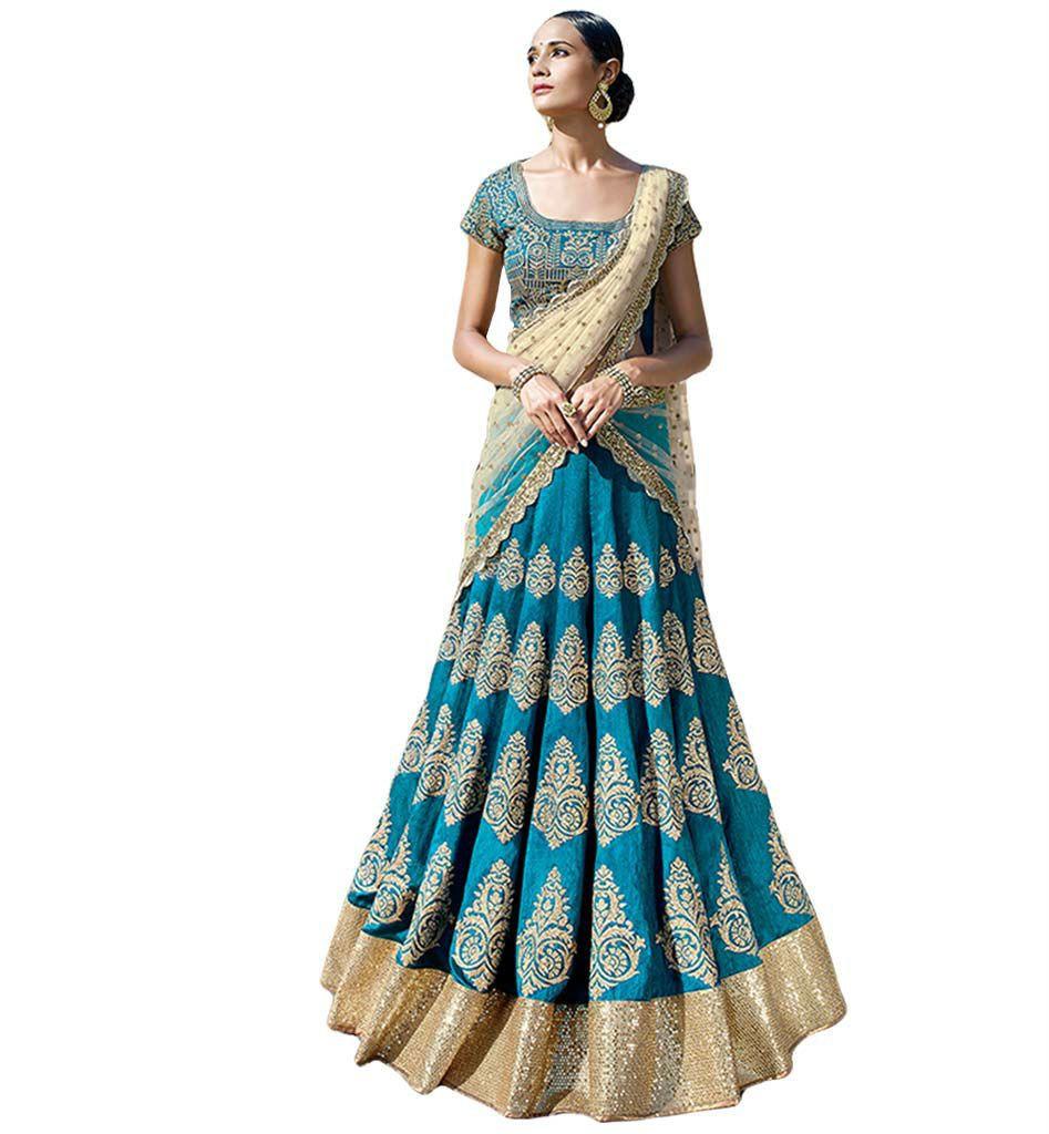 Charming blue ghaghra choli teamed up with a beige dupatta nkgr
