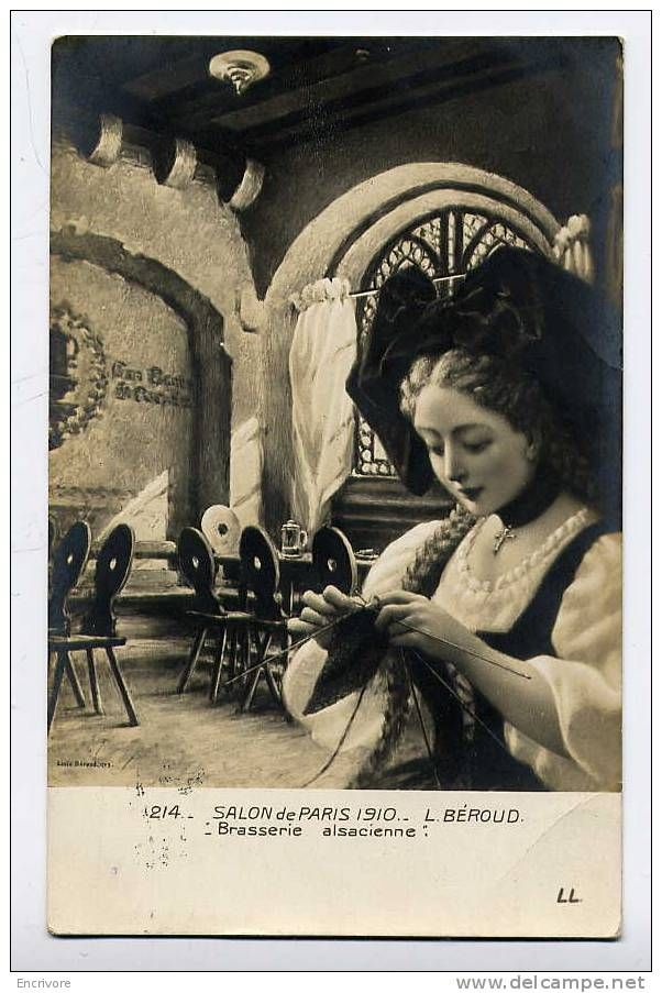 Cpa BRASSERIE ALSACIENNE - Beroud - Jeune Fille En Coiffe Et Tricot - Salon De Paris 1910 - LL 214