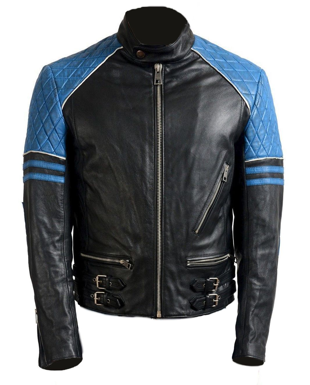 New Handmade Men Black Blue Leather Biker Jacket, Stylish