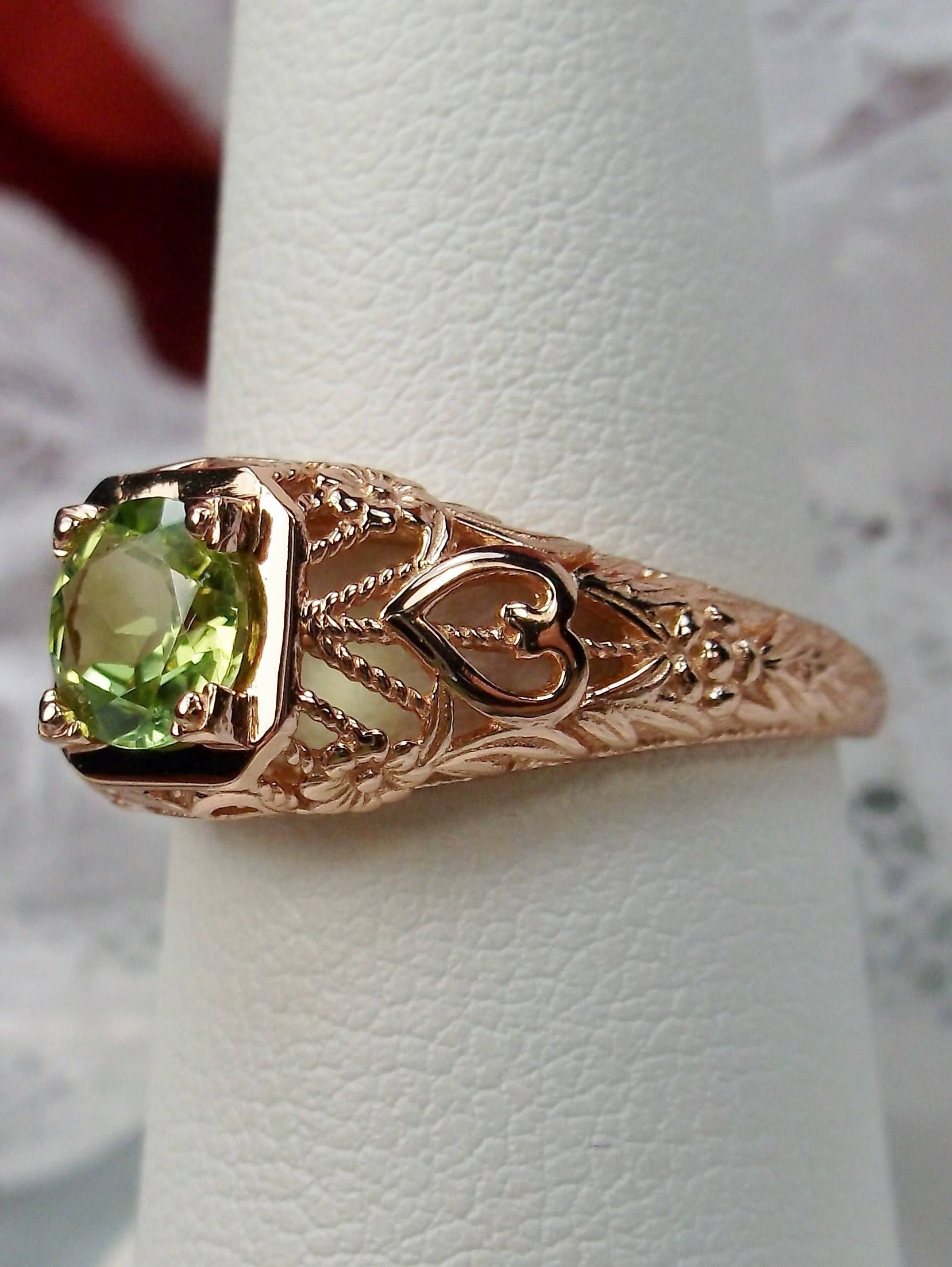 Natural 47ct Green Peridot 10k Solid Rose Gold Filigree Love Floral Ring Design 211 Made To Order With Images Antique Filigree Jewelry Green Peridot Sterling Silver Filigree