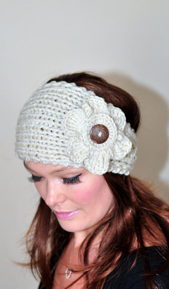 Crochet HEADBAND Flower Button Earwarmer head wrap CHOOSE COLOR ...