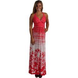 BCBGMAXAZRIA - V-Neck Maxi Dress (Red Combo) - Apparel, $53.40 | www.findbuy.co