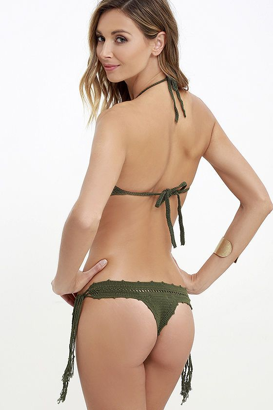314aa795be Mila Linda Olive Green Crochet Bikini Bottom at Lulus.com!