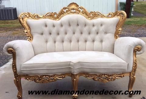 Baroque Ivory Velvet Victorian Louis Xv French Reproduction Rococo Sofa