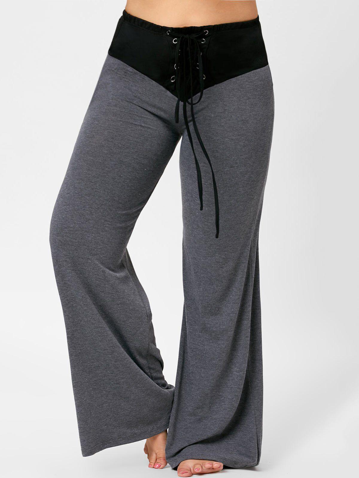 Plus Size Fashion | $11.87 | Two Tone Plus Size Lace-up Flare Pants | Sammydress.com