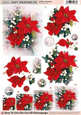 Craft Creations Die Cut Decoupage Poinsettias Christmas