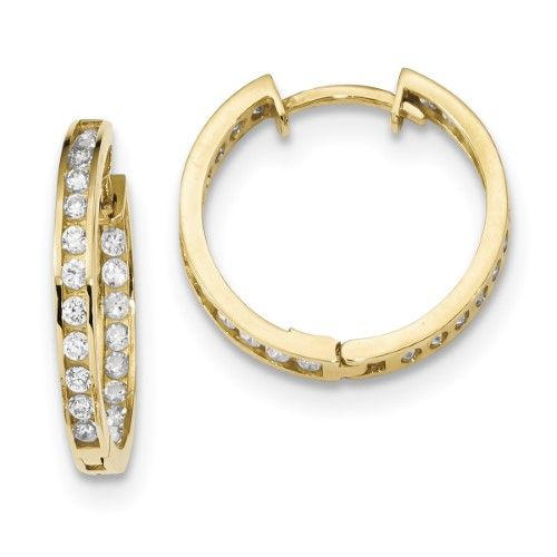 14K Yellow Gold Polished CZ In and Out Hoops Earrings, Women's