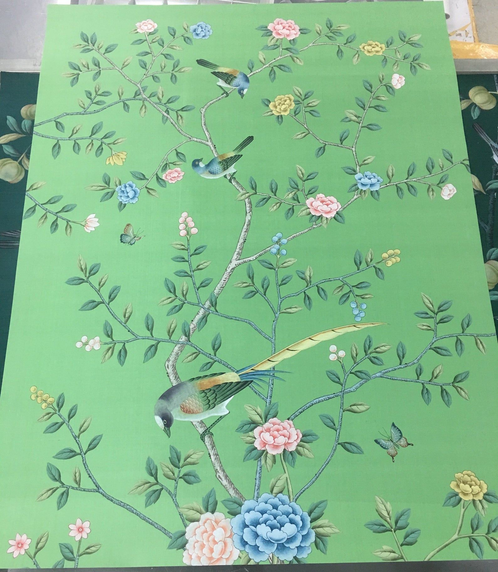"36"" x 48"" Single Panel for Chinoiserie Handpainted Artwork"