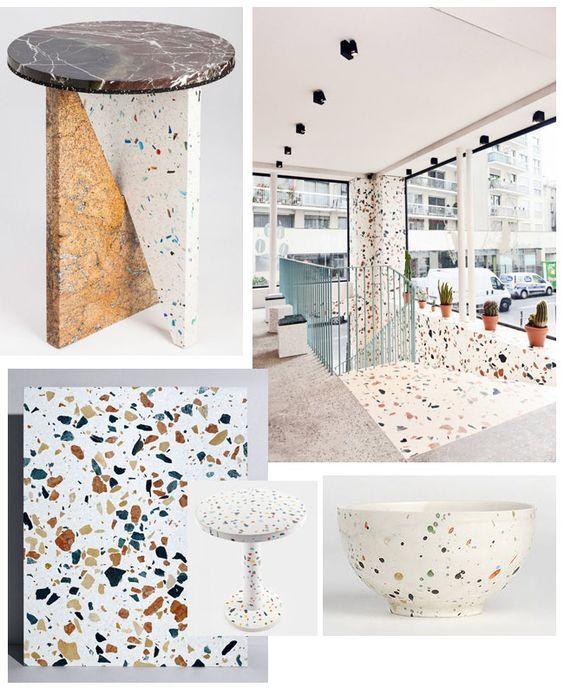 Matière terrazzo, kitsuné, marbre coloré, 90's, graphique et moucheté: