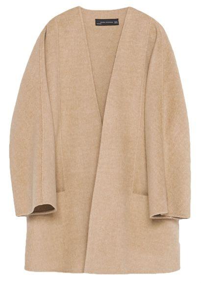 Veste longue laine camel