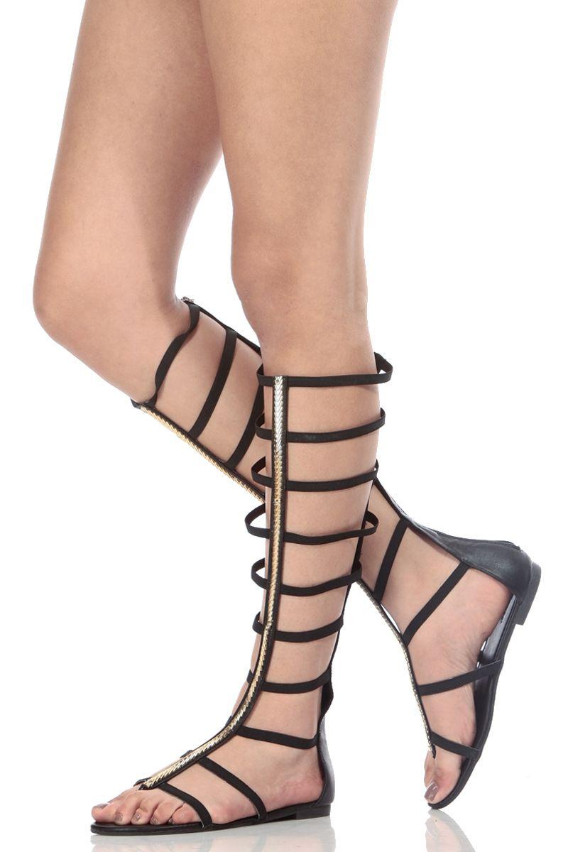 ef7f69ca24b5 Black Faux Leather Caged Elastic Strap Gladiator Sandals   Cicihot Sandals  Shoes online store sale Sandals