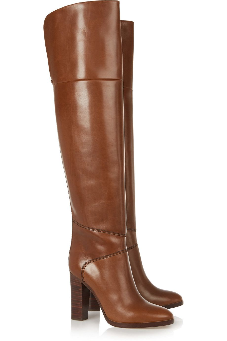 Chloé Glossed-leather over-the-knee boots.