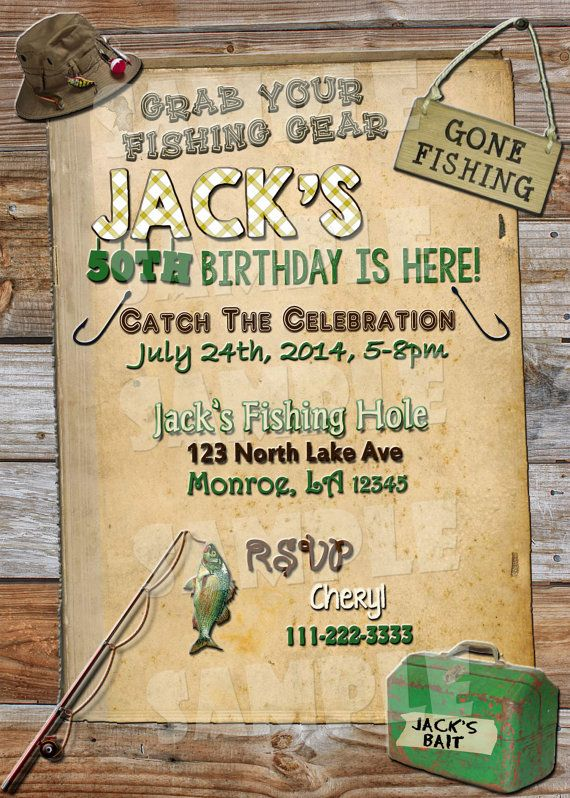 Printable fishing birthday invitation by for Fishing birthday party invitations