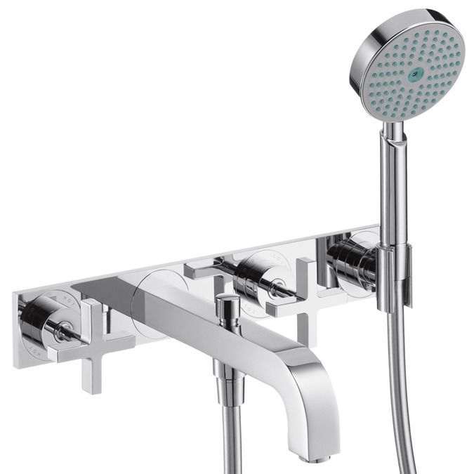 3-hole bath and shower mixer with cross handles and plate