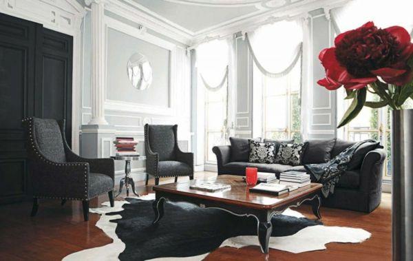 elegantes-klassisches-Wohnzimmer-schwarzes-Sofa Home Dreams - moderne luxus wohnzimmer