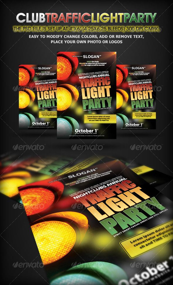 traffic light party nightclub flyer graphicriver item for sale