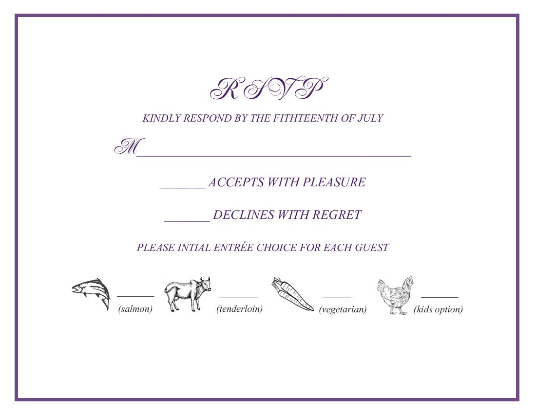 Wedding Rsvp W Menu Selections Wedding Favorites Pinterest