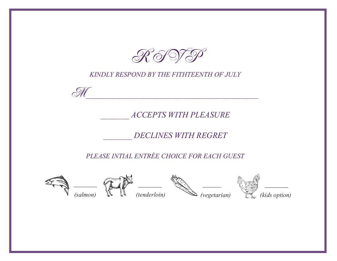 Wedding Rsvp W Menu Selections Wedding Favorites