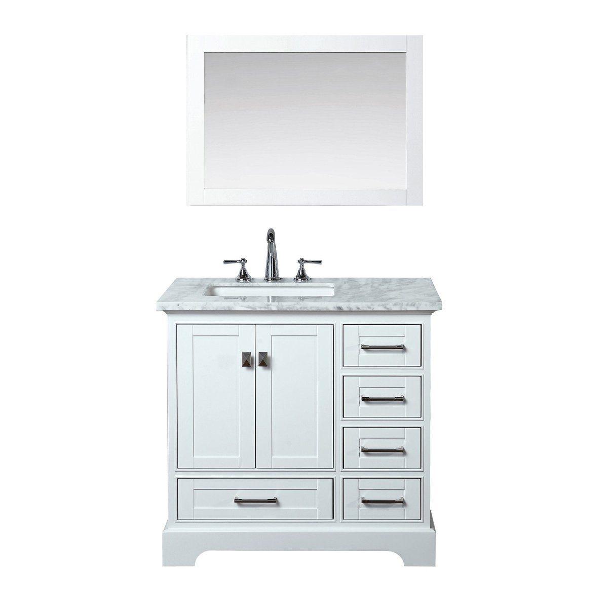 Newport White 36 Inch Single Sink Bathroom Vanity With Mirror