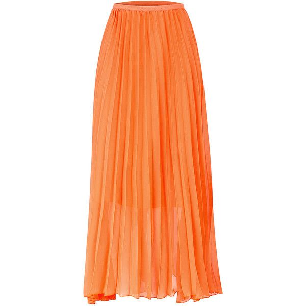 b286b4a99ab18 Yoins Orange Chiffon Pleated Maxi Skirt (£20) ❤ liked on Polyvore featuring  skirts, orange, orange maxi skirt, long pleated skirt, long skirts, long ...
