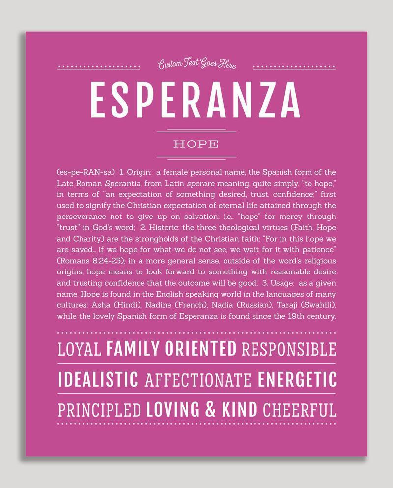 Esperanza Classic Name Print Significados De Los Nombres