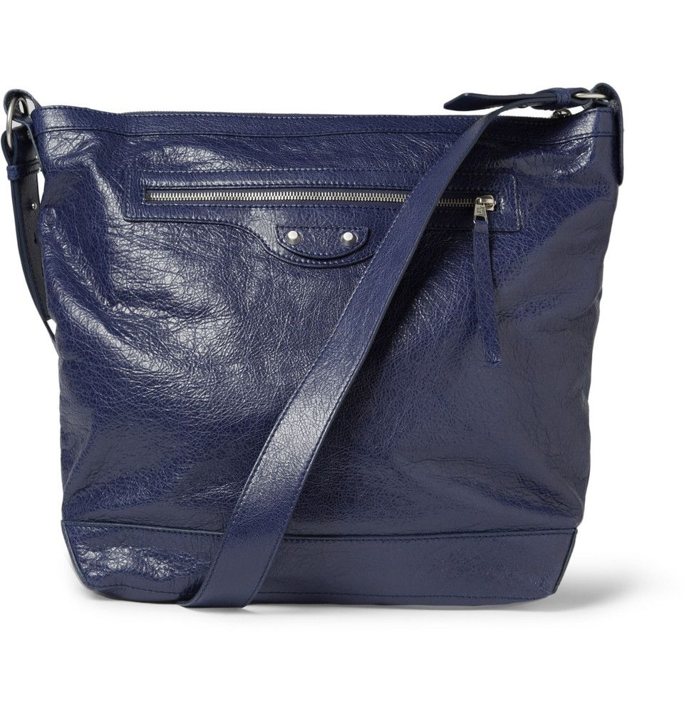 Balenciaga Men's Day Creased-Leather Messenger Bag | balenciaga ...