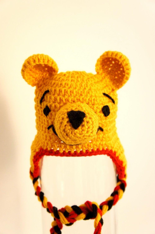 edf172e876a0 Winnie the Pooh Hat   Crochet Hat, Cap, Tam, Beret, Headband ...