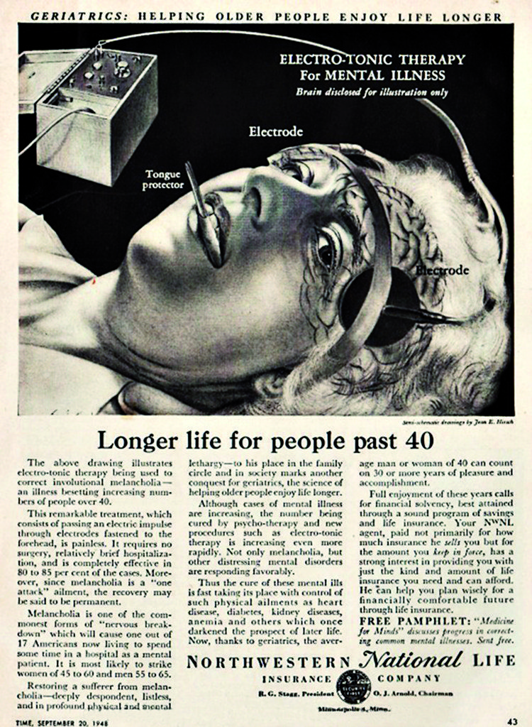 Over 40 Is Considered To Be Geriatric In This 1940 S Ad For Electric Shock Therapy Vintage Ads Vintage Advertisements Old Advertisements