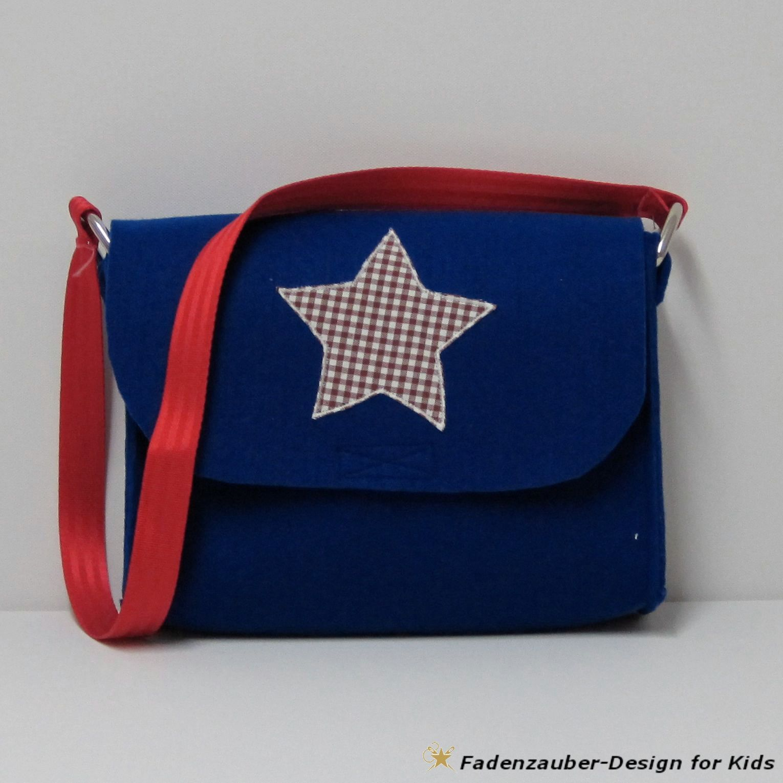 pretty nice 6e091 bfa6d Kindergartentasche mit Stern-Motiv aus blauem Filz #tasche ...