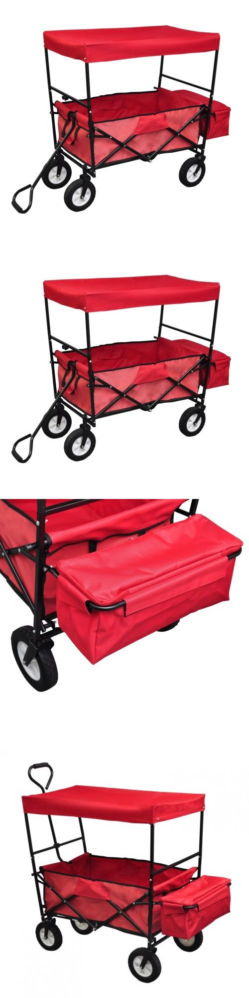 Other Hiking Gear 27363: Collapsible Folding Wagon Cart W/Canopy Outdoor  Utility Garden Beach