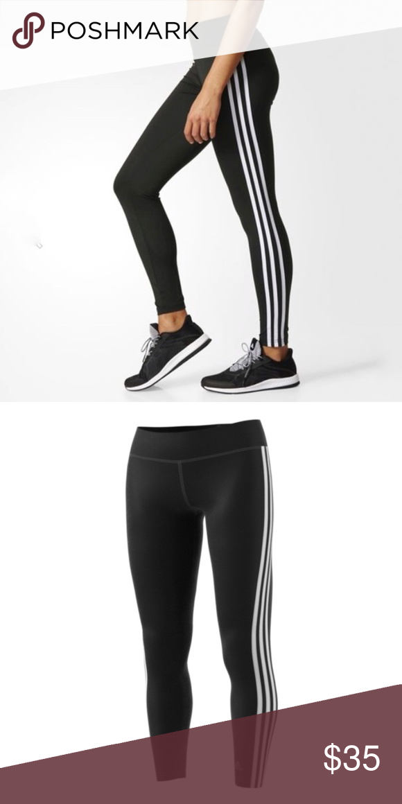 80a85bf90 adidas ClimaLite® D2M Three Stripes Long Tights adidas ClimaLite® D2M Three  Stripes Long Tights Color- Black White Size- Small Never Worn (NWT)   Discount ...