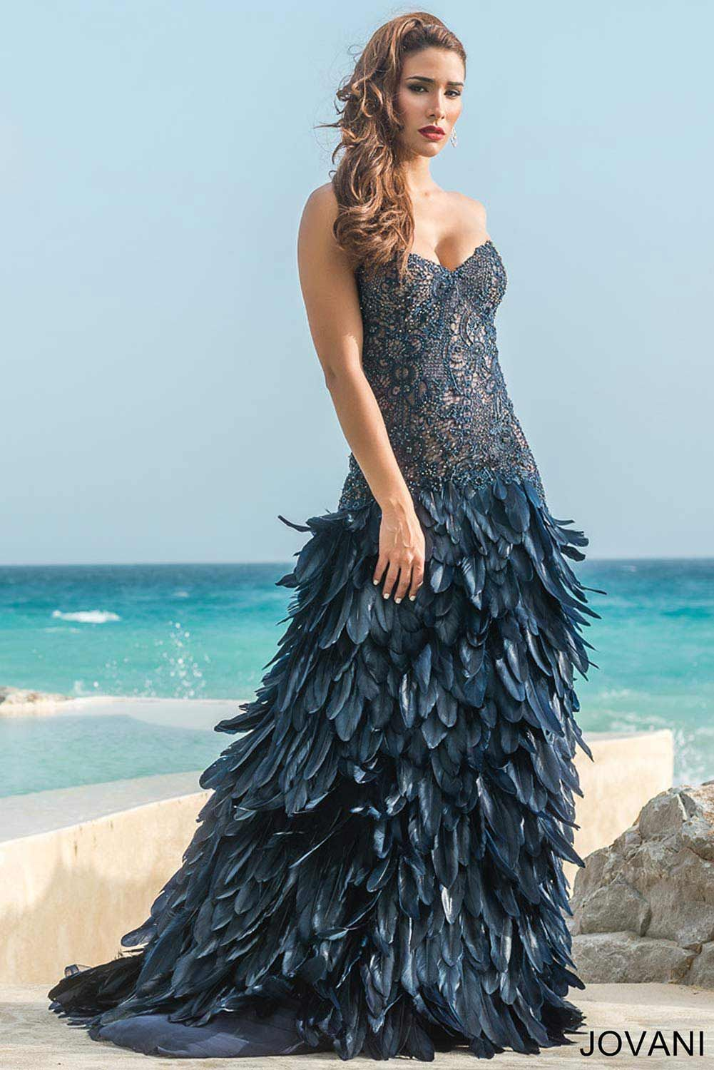 Strapless Feather Dress 26790 - Pageant Dresses