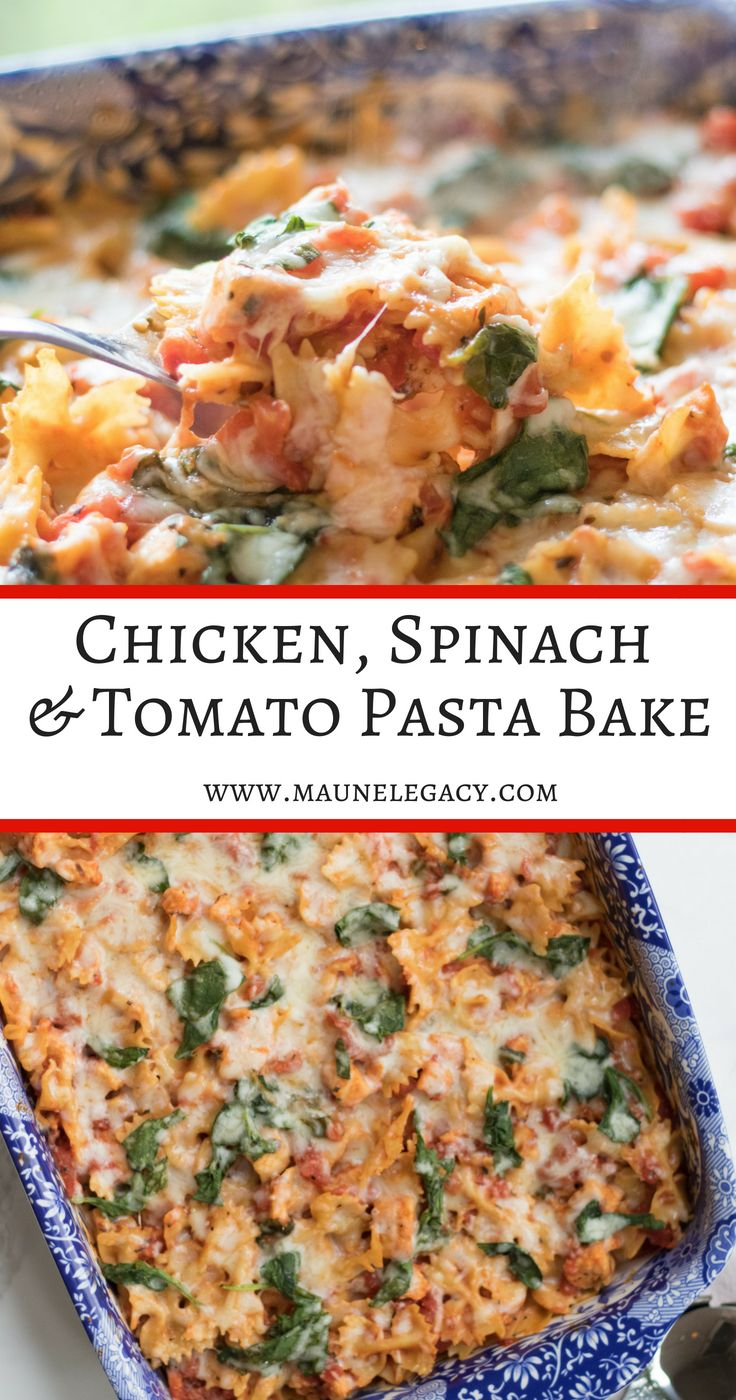 Easy Chicken, Spinach and Tomato Pasta Bake images