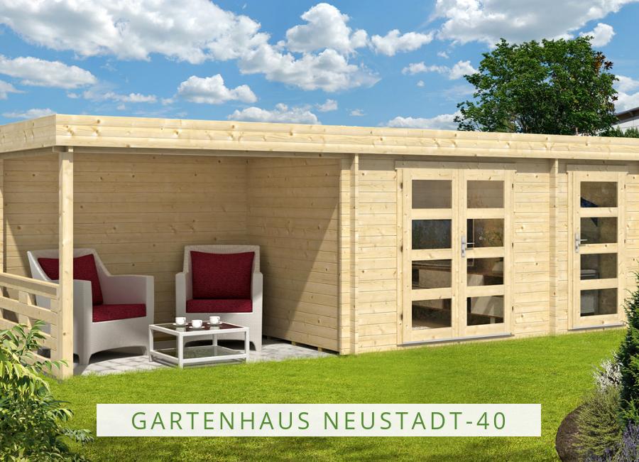 Flachdach Gartenhaus Neustadt40 mit Anbau Gartenhaus