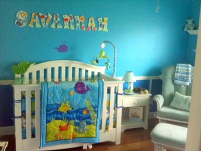 Our Baby Crib With Ocean Wonders Nursery Bedding Custom Wall Letters Bubbles Lamp Turtle Nightlight Sea Green Glider Swim Pillow This