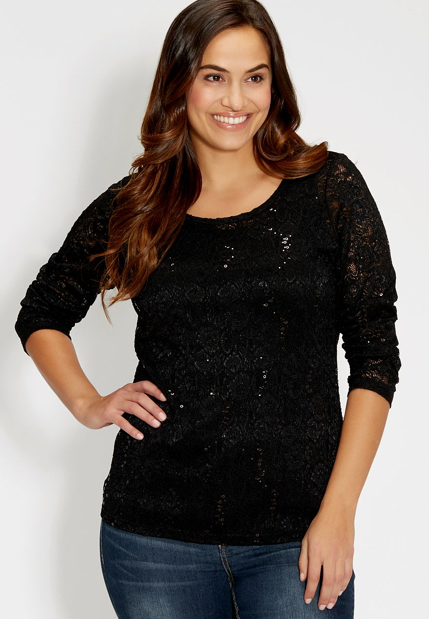 Plus Size Dressy Sequin Tops Anlis