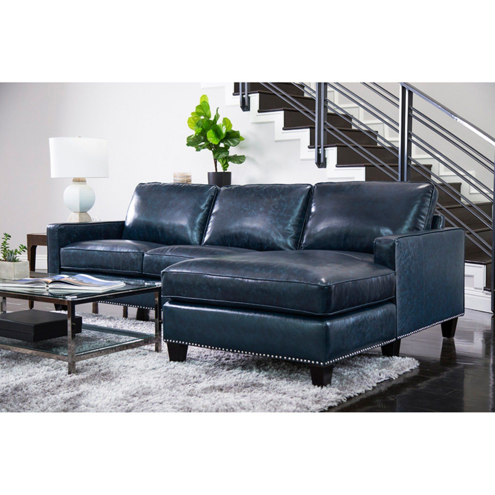 - Abbyson Living Kandice Top Grain Leather Sectional Sofa Blue Top