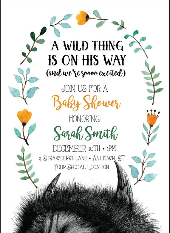 Where The Wild Things Are Baby Shower Invitation Diy Printable