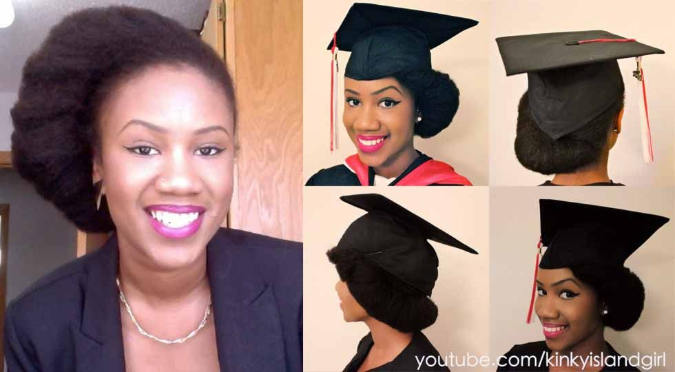 How To Wear Natural Hair Underneath Graduation Cap Kyss My Hair