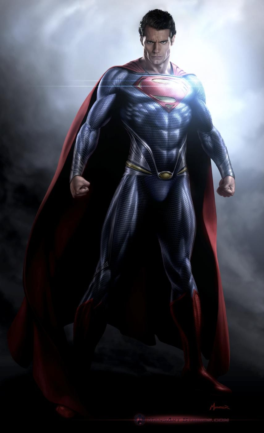 """Costume illustration for """"Kal-El"""" (Henry Cavill) by Warren Manser, from 'Man of Steel' 2013. Costume design by James Acheson and Michael Wilkinson."""