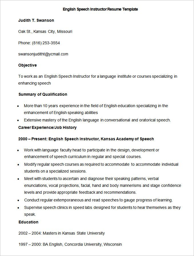 Sample English Speech Instructor Resume Template , How To Make A Good  Teacher Resume Template ,  Good Teacher Resume
