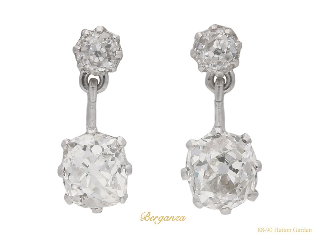 Art Deco Diamond Drop Earrings Circa 1930 Ref 23920