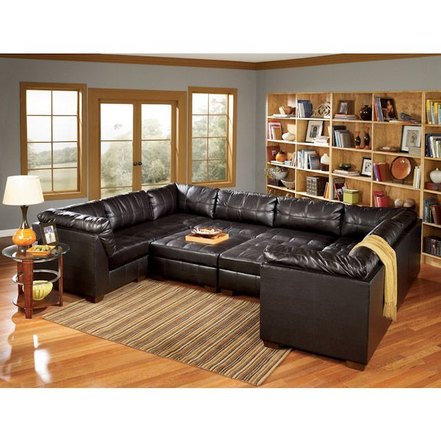 San Marco Chocolate Nine Piece Leather Sectional Bernie