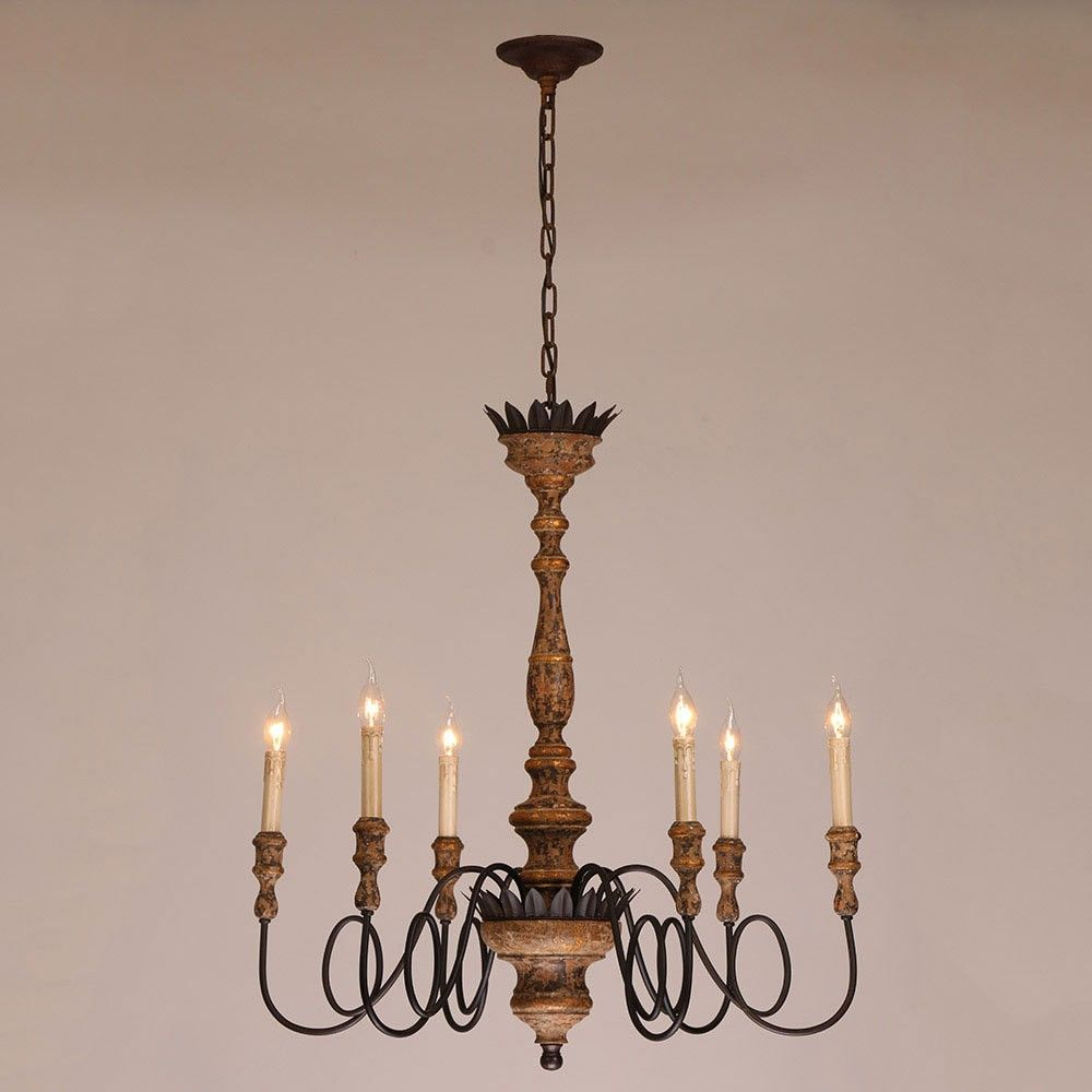 Antique 6 Light Candelabra Rust Metal Wooden Chandelier In Distressed Finish Ceiling Lights