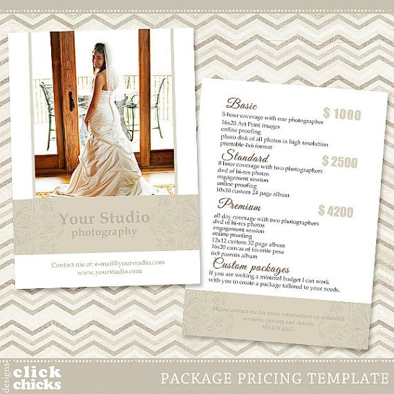 Photography Package Pricing List Template - Price List - Price Sheet