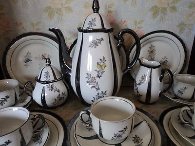 Vintage Rudolph Wachter Rw Bavaria Porcelain Tea Coffee Set Dekor Feinsilber Vintage Coffee Tea Set Coffee Set