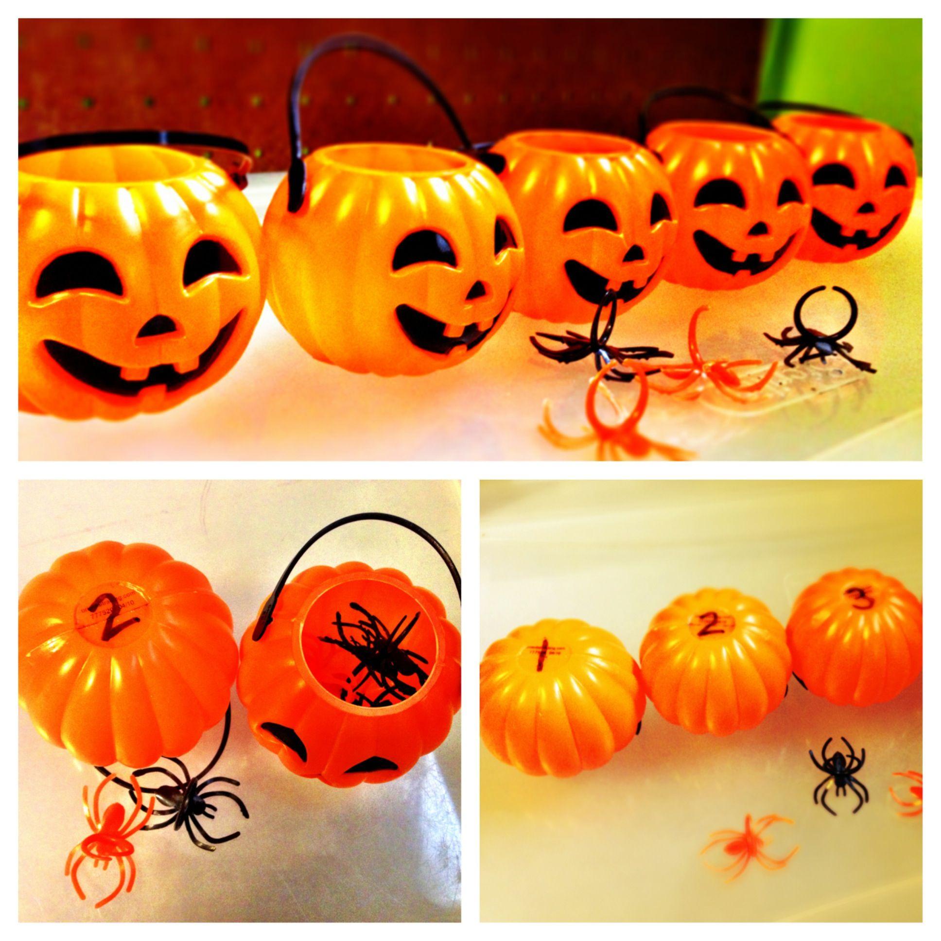 Halloween Preschool Pumpkin Activity Label 5 Mini Pumpkin Buckets 1 5 Provide Small Counters